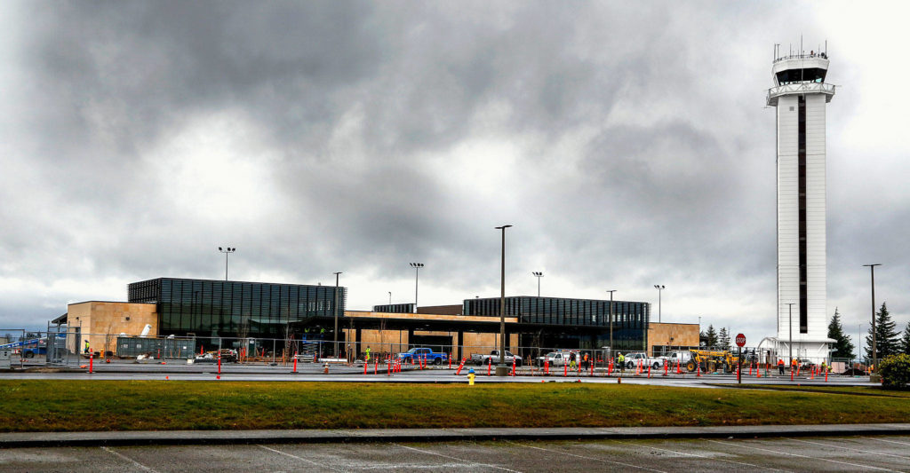 The new passenger terminal at Paine Field, the Snohomish County-owned airport in Everett. (Dan Bates / The Herald)