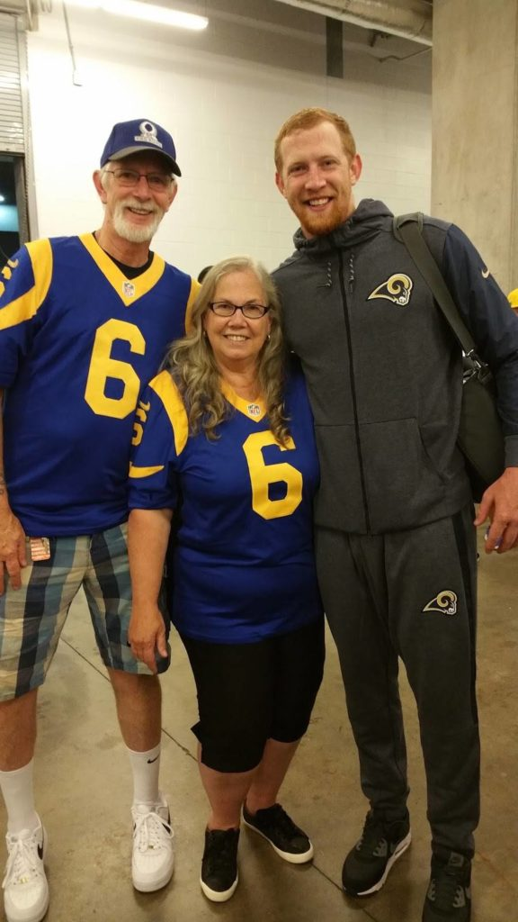 Bob, Joy and Johnny Hekker at the Rams/Cowboys game in 2017. (Joy Hekker)