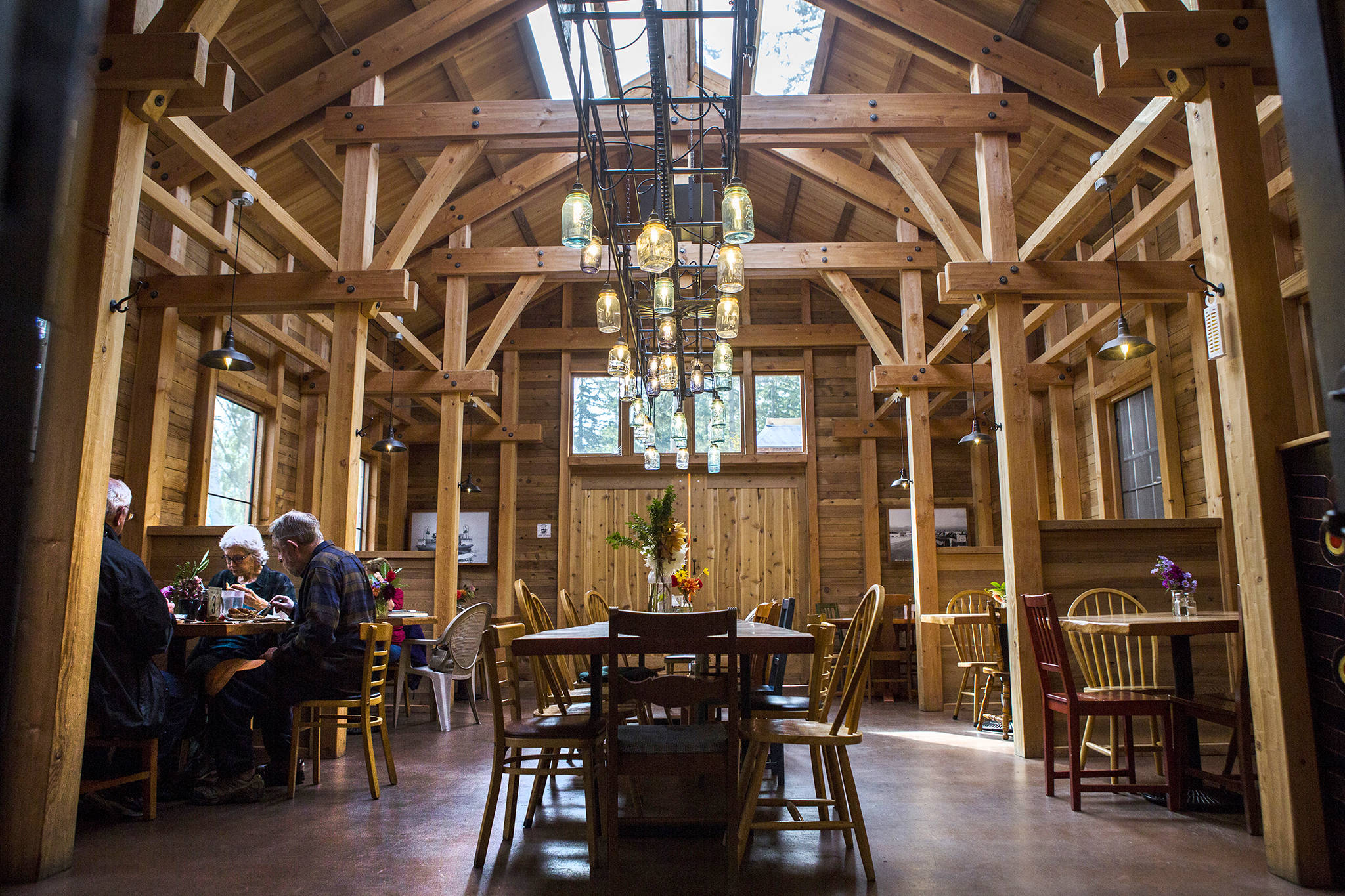 """A large dinning area is seen at Mukilteo Coffee Roasters in Langley. It made the top 10 in our <a href=""""https://www.heraldnet.com/life/top-coffee/"""" target=""""_blank"""">review of coffee spots</a> around Snohomish and Island counties. (Olivia Vanni / The Herald)"""