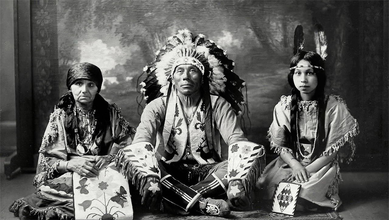 William Shelton, the last hereditary Snohomish tribal chief in Tulalip, with his daughter, Harriette Hiahl-tsa Shelton, and his wife, Ruth Siastenu Sehome Shelton. Harriette is the subject of a new film from the Tulalip History Project. (Tulalip Tribes Hibulb Cultural Center)