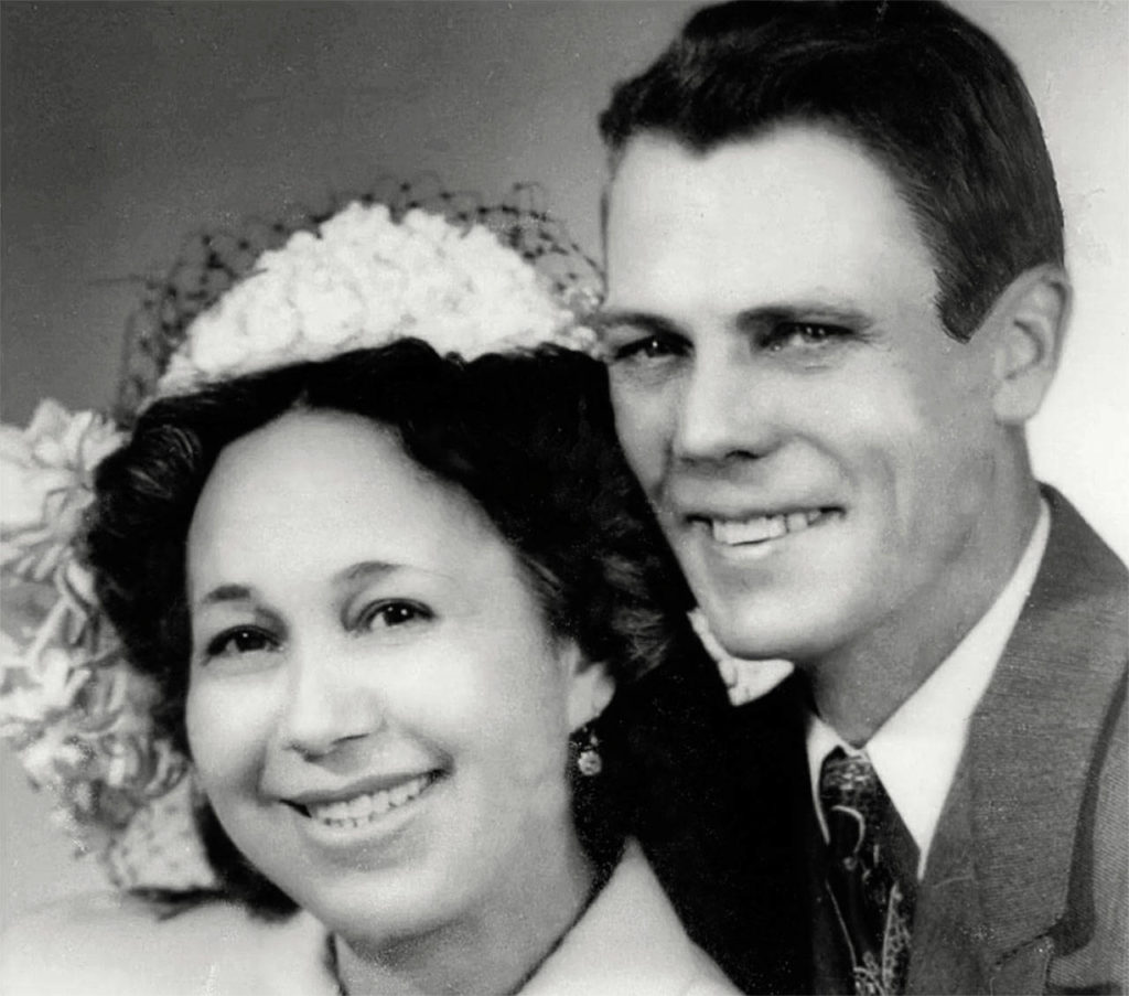 In 1950, Harriette married George Dover, a white man who worked as a logger. They were married until he died in 1969. They had one son, William Dover. (Tulalip Tribes Hibulb Cultural Center)