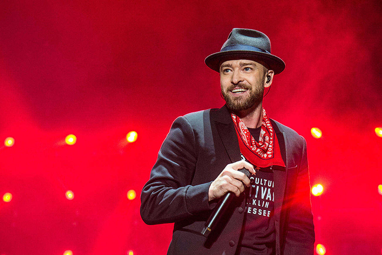 FILE - In this Sept. 23, 2017 file photo, Justin Timberlake performs at the Pilgrimage Music and Cultural Festival in Franklin, Tenn. Timberlake's Wednesday night concert New York City being postponed due to the spring nor'easter. He added that his Thursday night show at Madison Square Garden would still go on. (Photo by Amy Harris/Invision/AP, File)