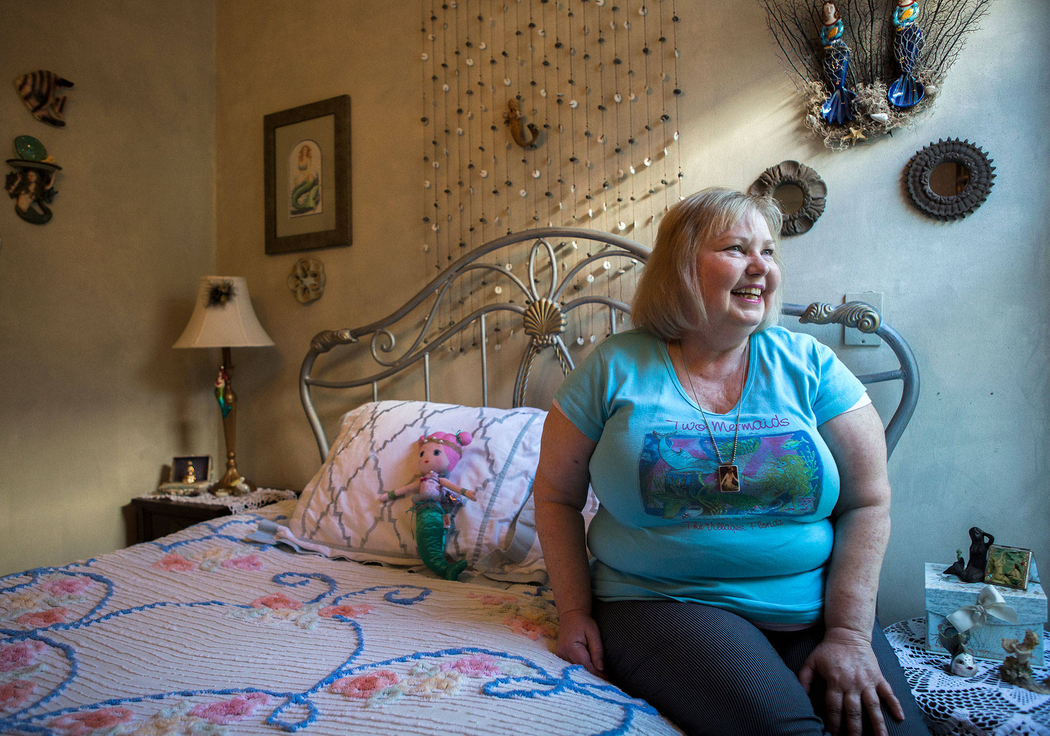 Melissa Strash in her mermaid-themed bedroom at her home in Everett. (Olivia Vanni / The Herald)