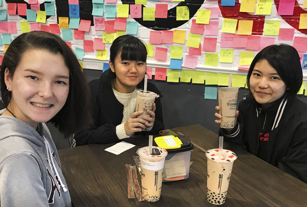 Margaret Schroeder (left) with Japanese students Seira Higa and Shinon Takara on their visit to Washington in November. (Submitted photo)