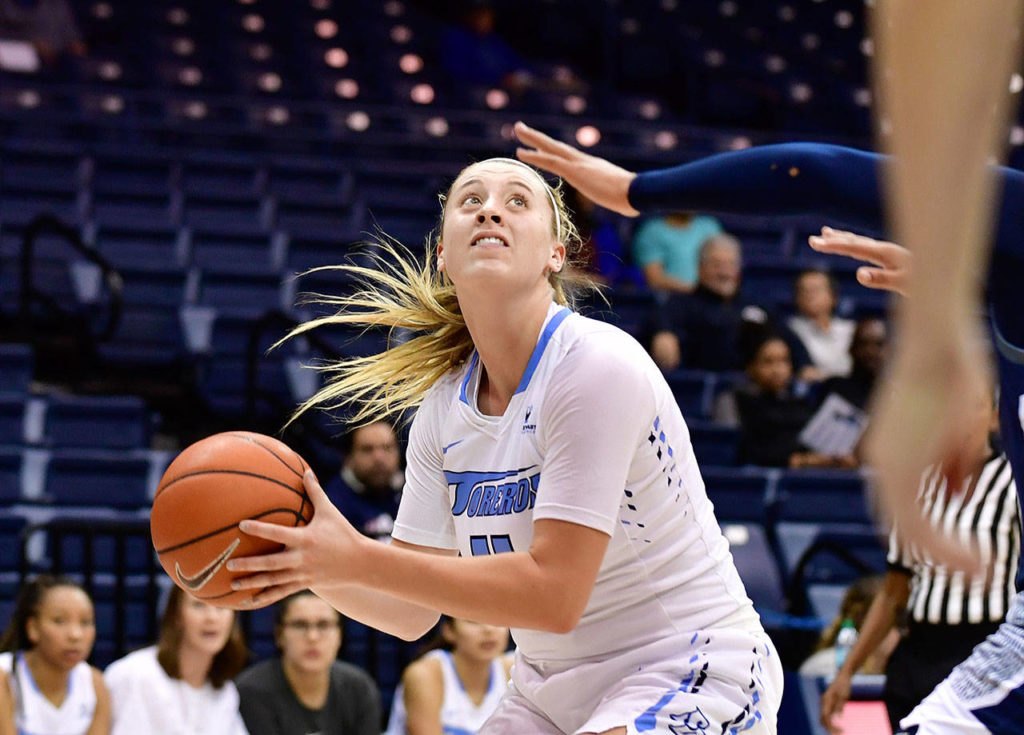Snohomish High School graduate Madison Pollock averages 10.9 points and 6.1 rebounds per game for the University of San Diego. (Anna Scipione/University of San Diego Athletics)