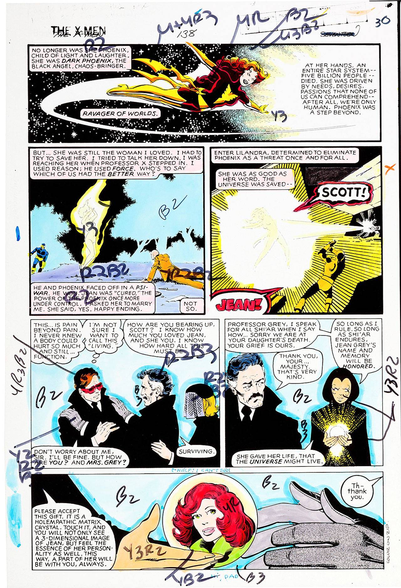 "Prior to the digital age, comic-book art had to be colored by hand and coded for color separations. This printer's guide was colored by Glynis Wein and is from ""X-Men No. 138"" (Marvel, 1980), the epilogue of the ""Dark Phoenix Saga."""
