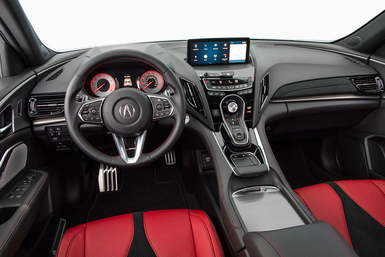 "A high-deck ""floating"" center console is among the features contributing to the cockpit-like cabin of the all-new Acura RDX premium compact SUV. (Manufacturer photo)"