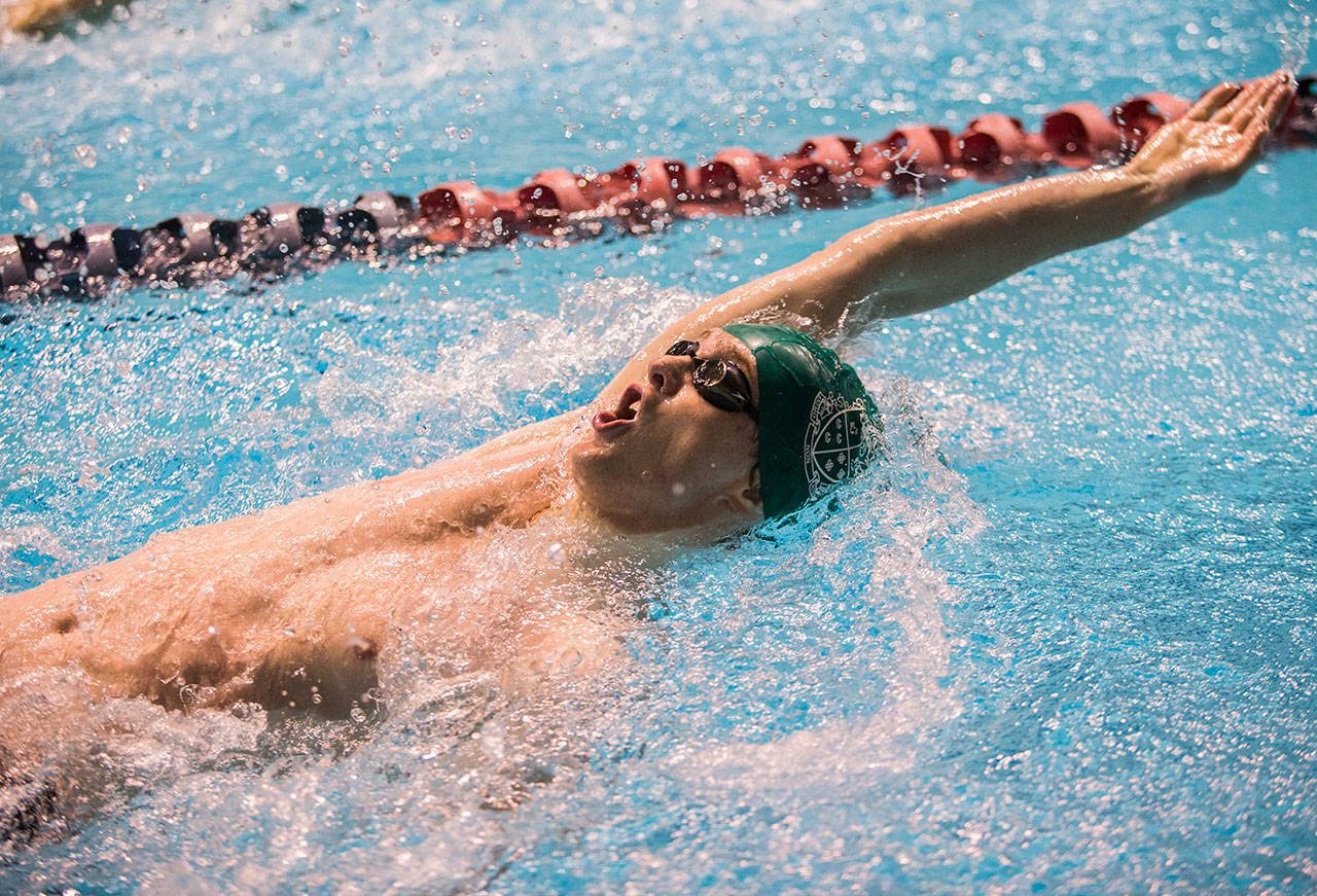 Shorecrest's Aric Prieve competes in the 100 Yard Backstroke during the 3A Boys' Swim/Dive Championships on Saturday, Feb. 16, 2019 in Federal Way, Wash. (Olivia Vanni / The Herald)