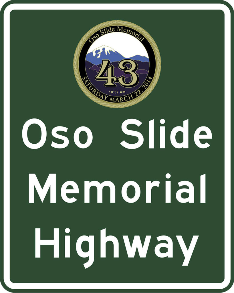 This is a mockup of the Oso Memorial Highway sign. (Washington State Department of Transportation)