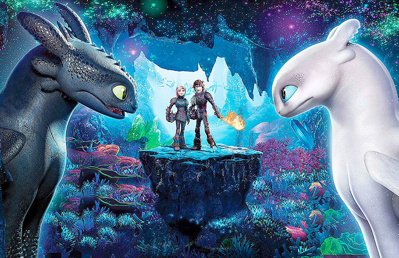 "Toothless meets a sparkly white lady-friend dragon in ""How to Train Your Dragon: Hidden World."" (Universal Pictures)"