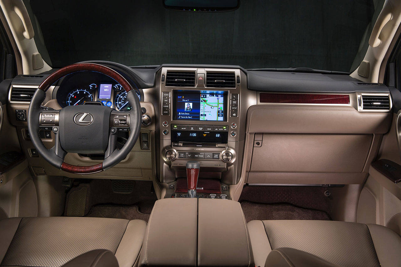 The interior of the 2019 Lexus GX 460 combines restrained design with luxury amenities. (Manufacturer photo)