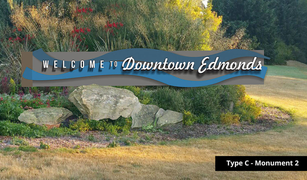 A design of the proposed downtown Edmonds gateway sign developed by the city through a process with Clayton Moss, a sign committee and input from the previous open house and online survey. (Clayton Moss)