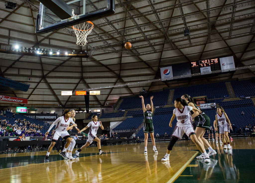Edmonds-Woodway's Adrienne Poling shoots a free throw during the game against Bethel at the 3A Girls Hardwood Classic on Wednesday, Feb. 27, 2019 in Tacoma, Wash. (Olivia Vanni / The Herald)