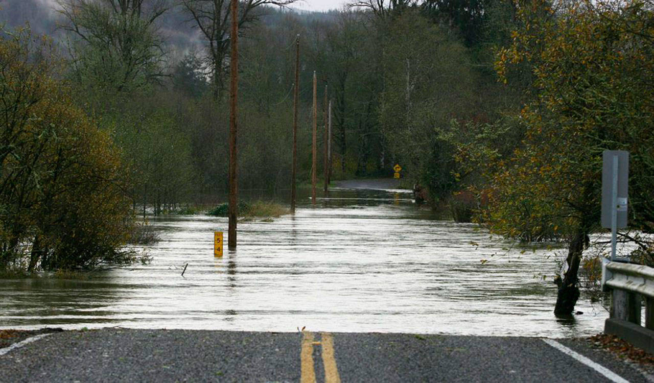 Wenzel Slough Road at Vance Creek in southwest Washington was made impassible on Nov. 18, 2015, due to flood waters. (Corey Morris / The Vidette, file)