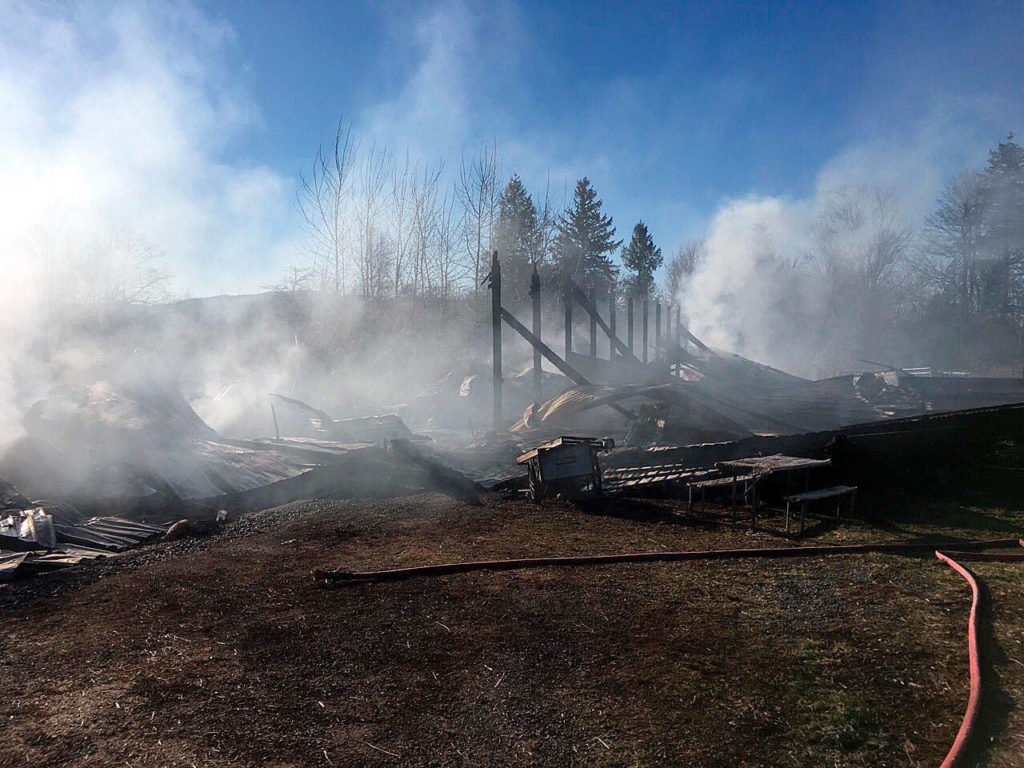 Firefighters were able to open stalls for two horses to escape a barn engulfed in flames early Thursday morning in Monroe, but four other horses died. (Snohomish County Fire District 7)