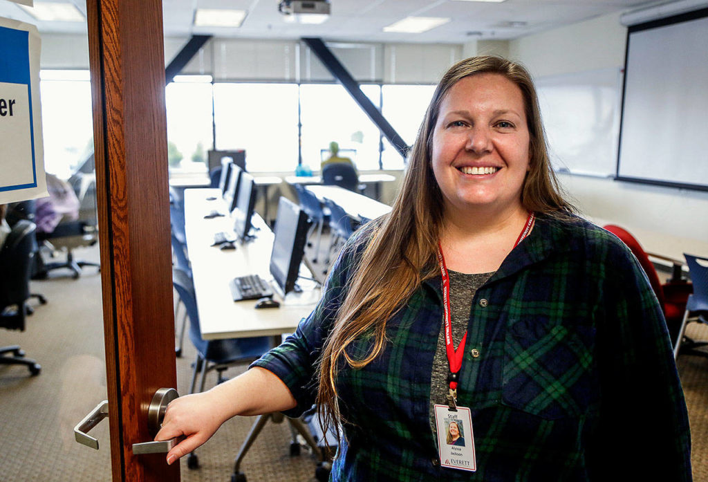 Alyssa Jackson, 35, is a graduate of EvCC's East County Campus who went on to earn a bachelor's degree and now works at the college in Monroe. (Dan Bates / The Herald)