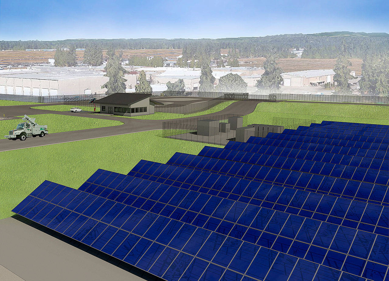 An artist's rendering shows what a 2-acre field of solar panels near the Arlington airport may look like. (Hewitt Architects)