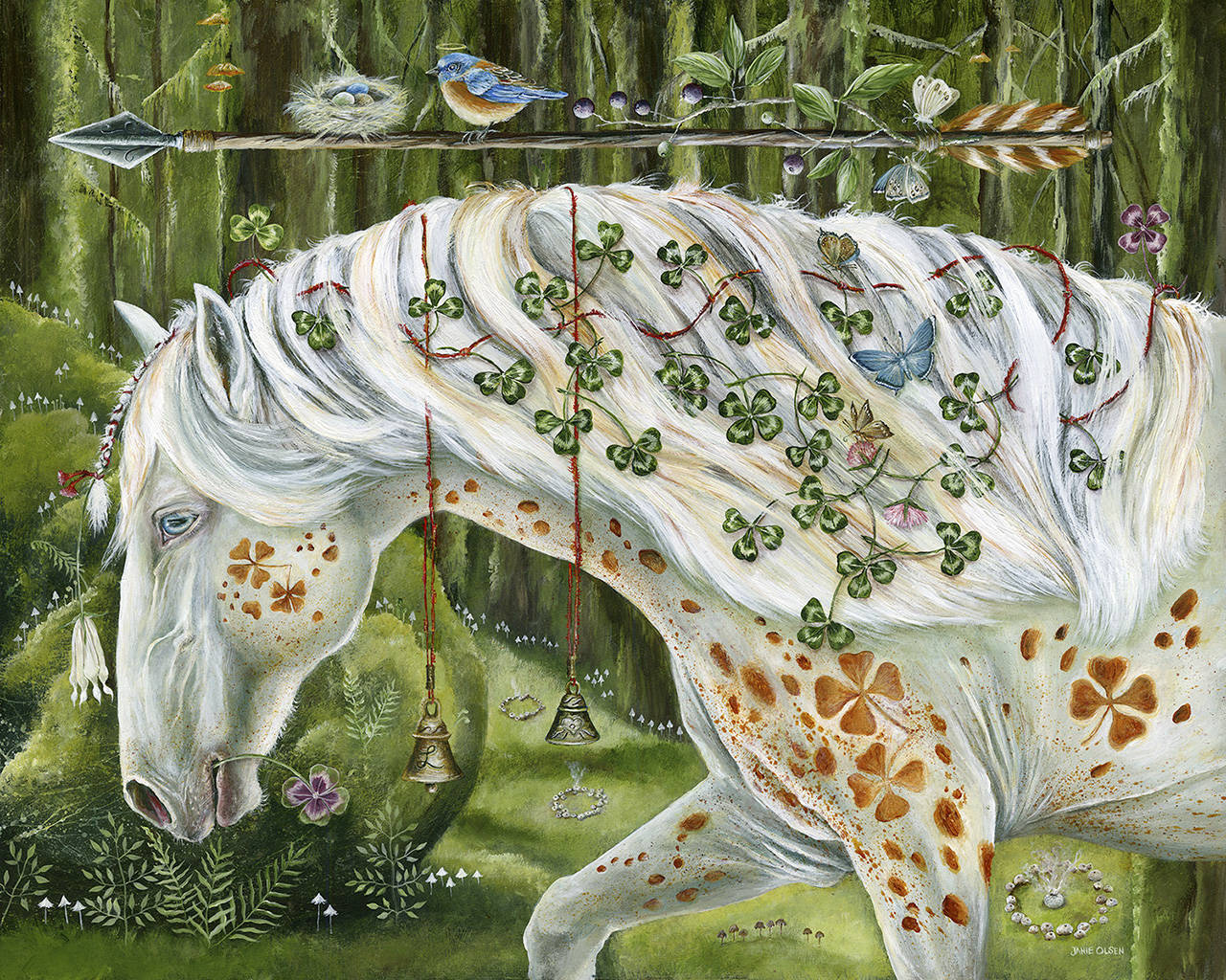 """See """"Luck Walk With Me"""" by Janie Olsen in the Artist of the Year's exhibition """"Animal Kingdom"""" through April 13 at the Schack Art Center in Everett."""