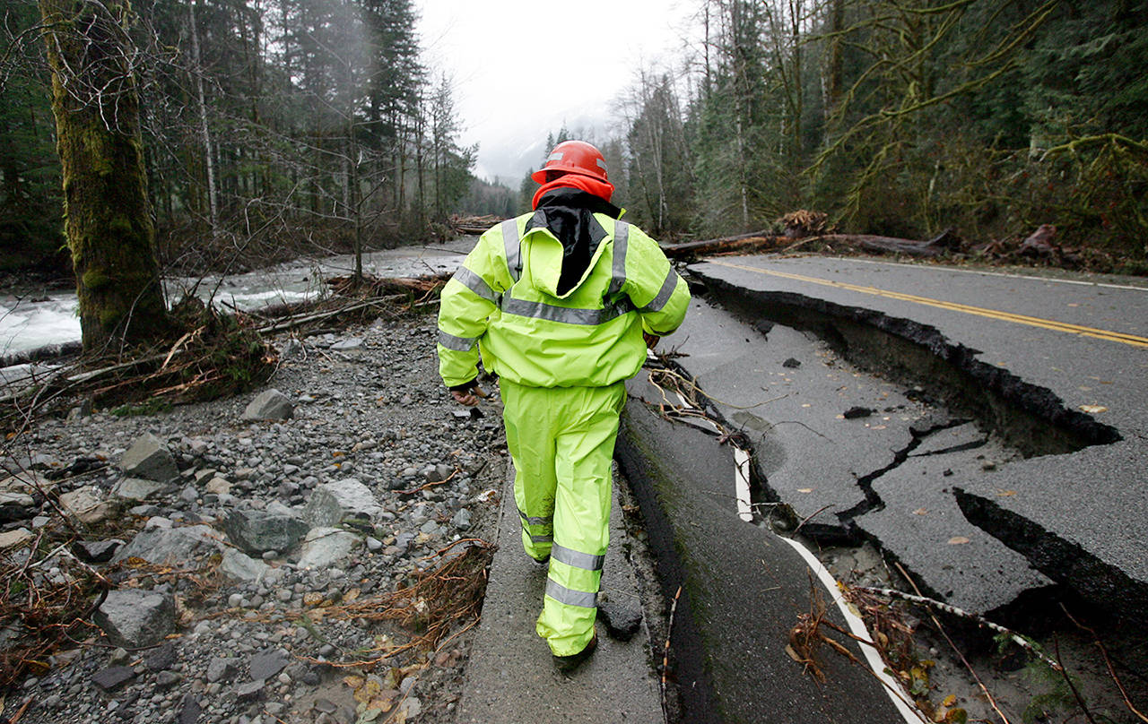 Election Day flooding in 2006 caused heavy damage along Index-Galena Road. Most sections have since been repaired, but not the stretch between mile post 6.4 and 6.9. (Jennifer Buchanan / Herald file)