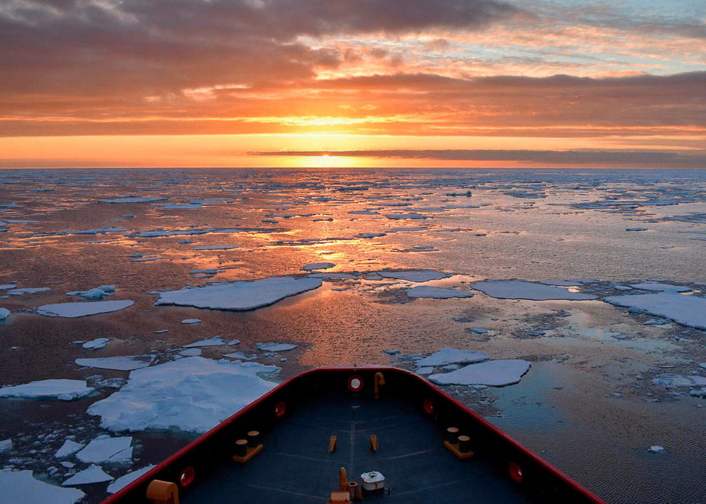The U.S. Coast Guard's Polar Star, a heavy icebreaker, near Antarctica during its 105-day deployment to clear a 16.5-nautical mile channel through McMurdo Sound. The icebreaker returned to Seattle on Monday. (Photo Courtesy U.S. Coast Guard)