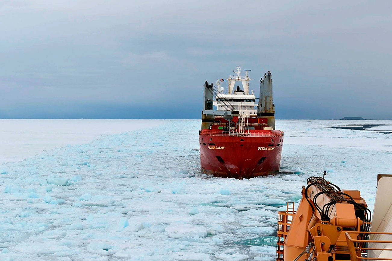 The U.S. Coast Guard's Polar Star, a heavy icebreaker, during its 105-day deployment to Antarctica. The icebreaker returned to its homeport of Seattle on Monday. (Photo Courtesy U.S. Coast Guard)