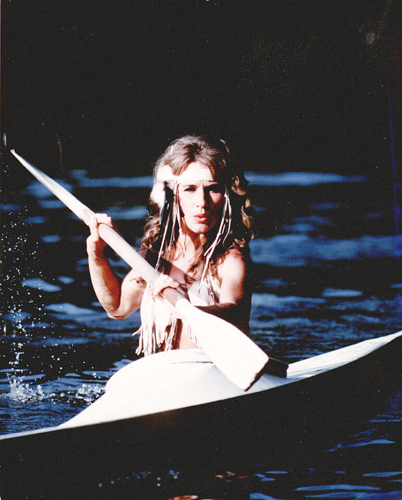Courtney Bell paddles a kayak in this photo from around 1983. Courtesy L. Lindgren Collection