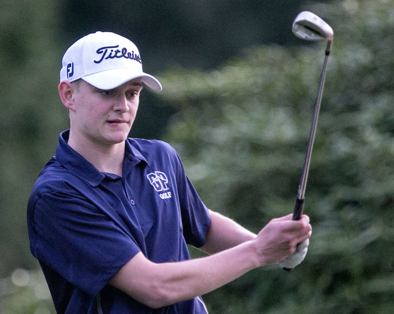 Glacier Peak's Tyler Spalti was one of 10 golfers from Wesco 4A who competed in the boys state tournament last season. All 10 are back this season. (Kevin Clark / The Daily Herald)