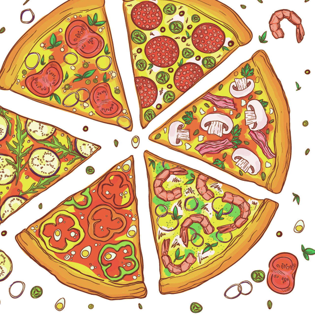 Pizza toppings, clockwise from the top: Jalapeno salami, mushroom bacon, prawn onion, egg pepper, arugula eggplant and tomato basil. (Getty Images)
