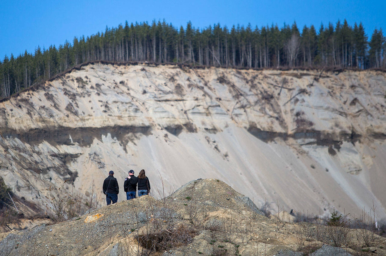 People view the 2014 mudslide site after a remembrance ceremony on Friday near Oso. (Olivia Vanni / The Herald)
