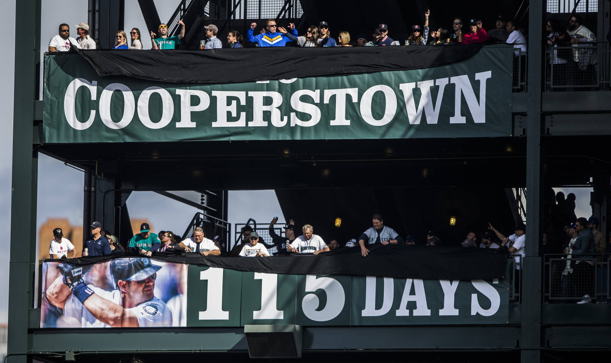 A countdown to Edgar Martinez's induction into Cooperstown is revealed during Opening Day at T-Mobile Park on Thursday, March 28, 2019 in Seattle, Wash. (Olivia Vanni / The Herald)