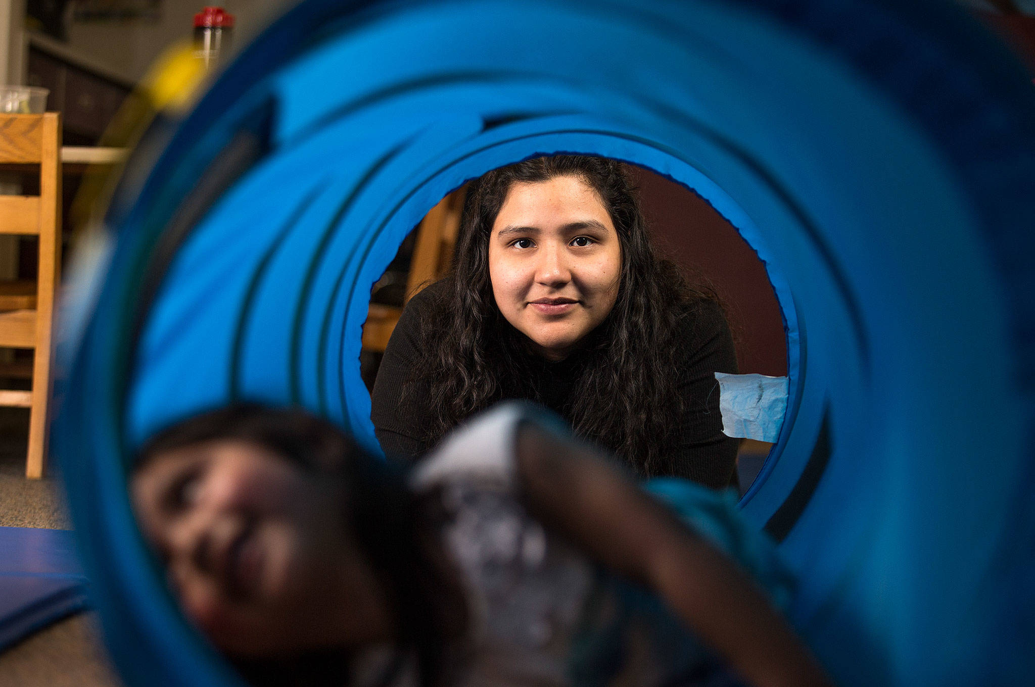Sequoia High School's Fernanda Perez Vasquez carries a full load of classes each term, works every weekend and cares for her two-year-old daughter. She plans to study medicine at Everett Community College and ultimately become a doctor. (Andy Bronson / The Herald)
