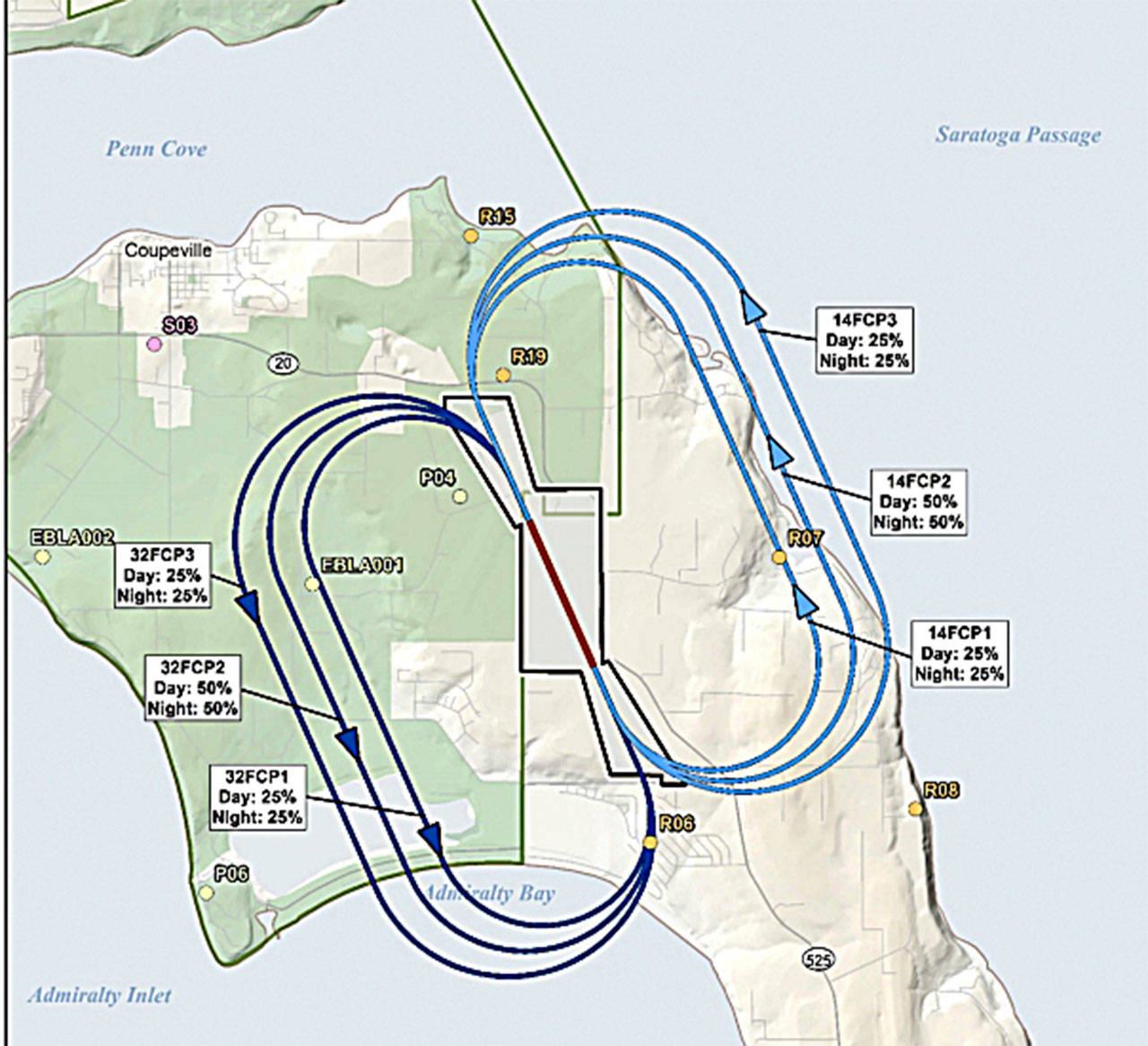 A diagram from the Environmental Impact Statement on EA-18G Growlers shows the flight track utilization percentages.