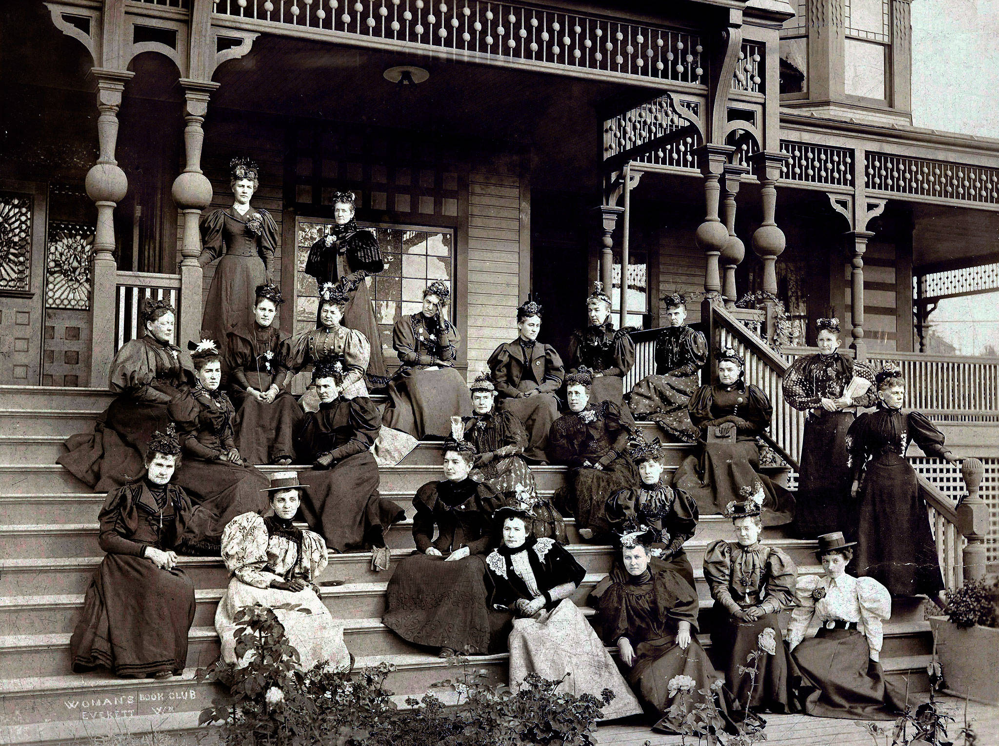 Early members of the Woman's Book Club of Everett are on the steps of the Hotel Monte Cristo in this photo taken in 1895, the year after the club was founded. Mary Lincoln Brown, second from right in top seated row, hosted their first gathering on June 10, 1894.