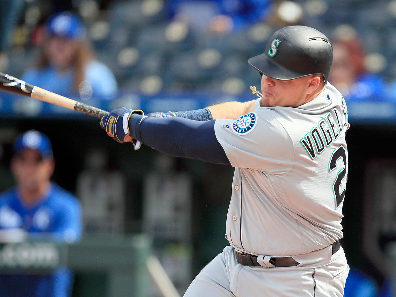 Seattle's Daniel Vogelbach hits a solo home run during the 10th inning of the Mariners' 7-6 win over the Royals on Thursday in Kansas City, Missouri. (AP Photo/Orlin Wagner)
