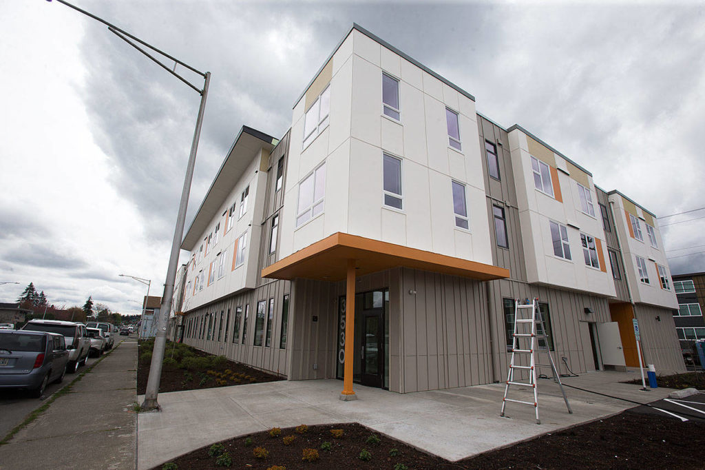 Cocoon House's new three-floor building, seen here Tuesday, will soon house 20 at-risk teens and 20 young adults in the new Colby Avenue location in Everett. (Andy Bronson / The Herald)