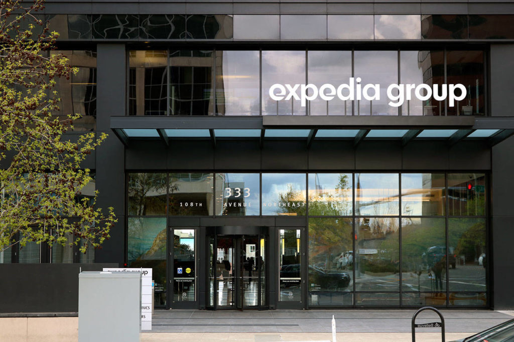 Amazon recently announced it will move its Seattle-based worldwide operations team to Bellevue by 2023. The company plans to occupy an office tower, pictured here, currently occupied by Expedia starting in 2020. (Kailan Manandic / Bellevue Reporter)