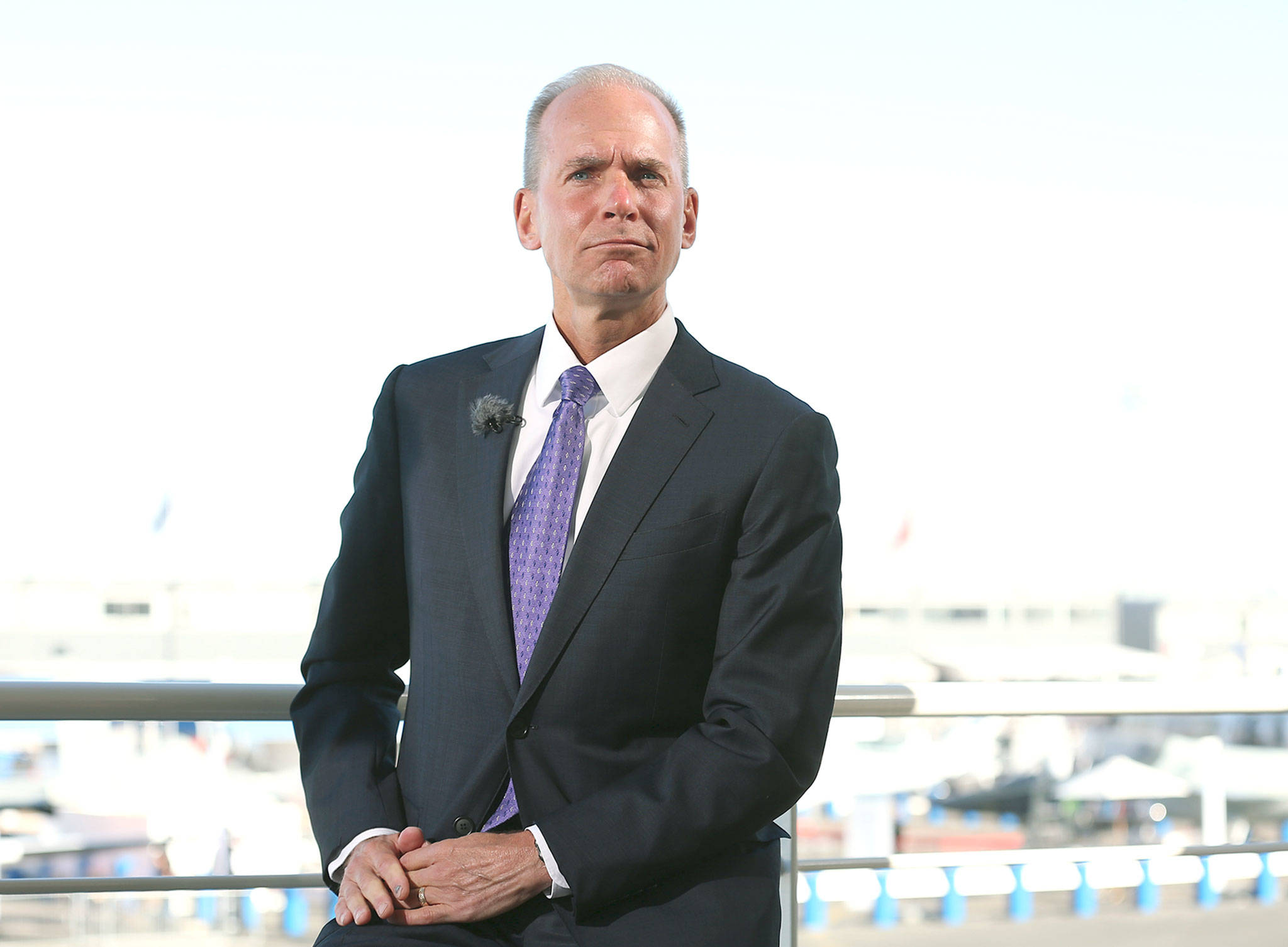 Boeing CEO Dennis Muilenburg during a television interview in 2017. (Marlene Awaad / Bloomberg News)