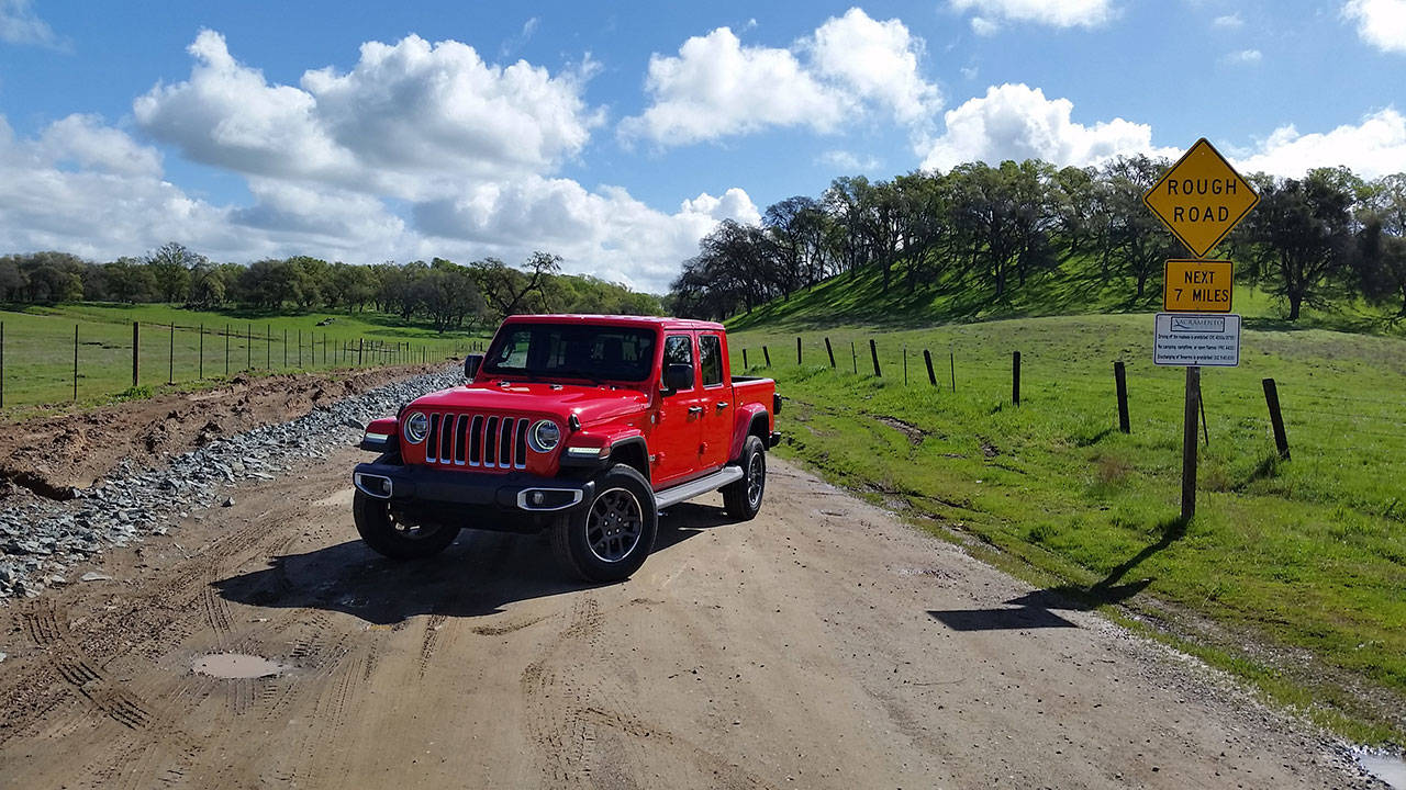 The 2020 Gladiator is an all-new offering from Jeep, powered by a 3.6-liter Pentastar V6 engine and equipped with the famous Wrangler four-wheel drive system. (Mary Lowry / For The Herald)