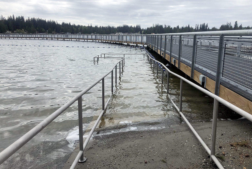 The major improvements to Wenberg County Park's swimming area and boat launch, as seen in December. (Rich Patton / Snohomish County Parks)