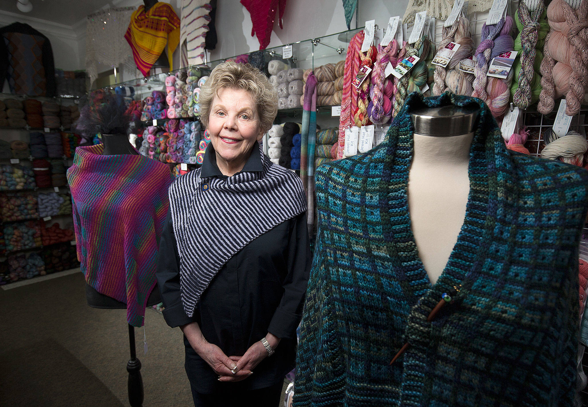 Fontelle Jones, owner of Great Yarns in Everett, has been a member of the Local Yarn Shop Tour since its inception. (Andy Bronson / The Herald)