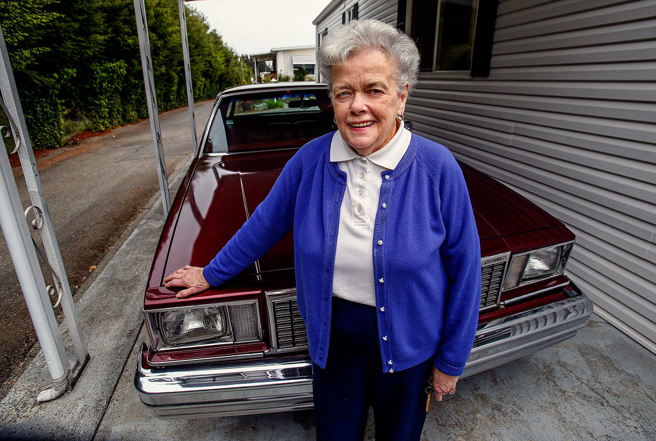 "Patricia Browning was driving her much-loved '78 Chevy Malibu Classic the day she met several ""angels"" who helped her through an emotionally hard day. (Dan Bates / The Herald)"
