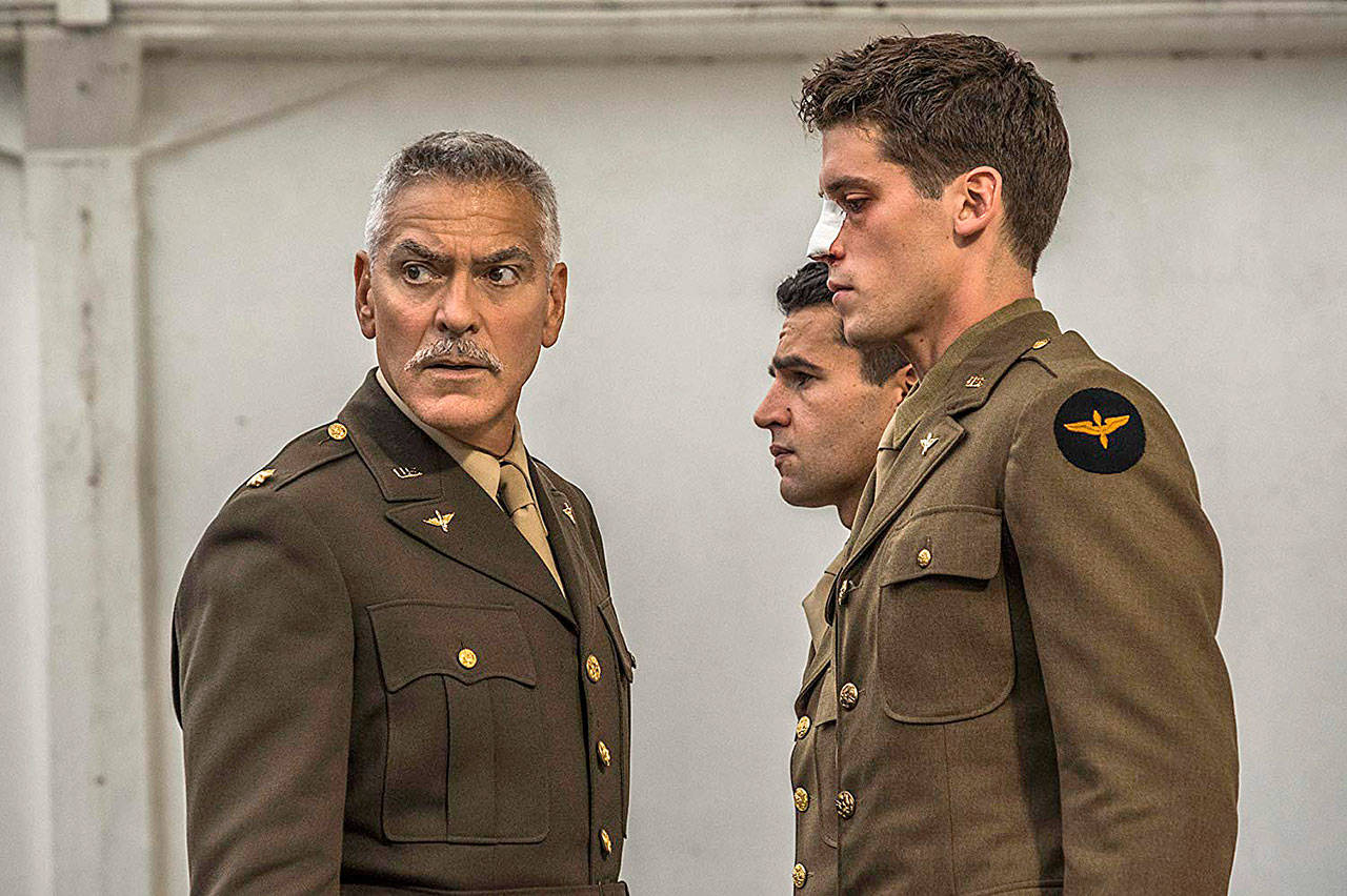 "George Clooney, Christopher Abbott and Pico Alexander in ""Catch-22,"" a Hulu limited series based on Joseph Heller's 1961 novel. (Philipe Antonello/Hulu)"