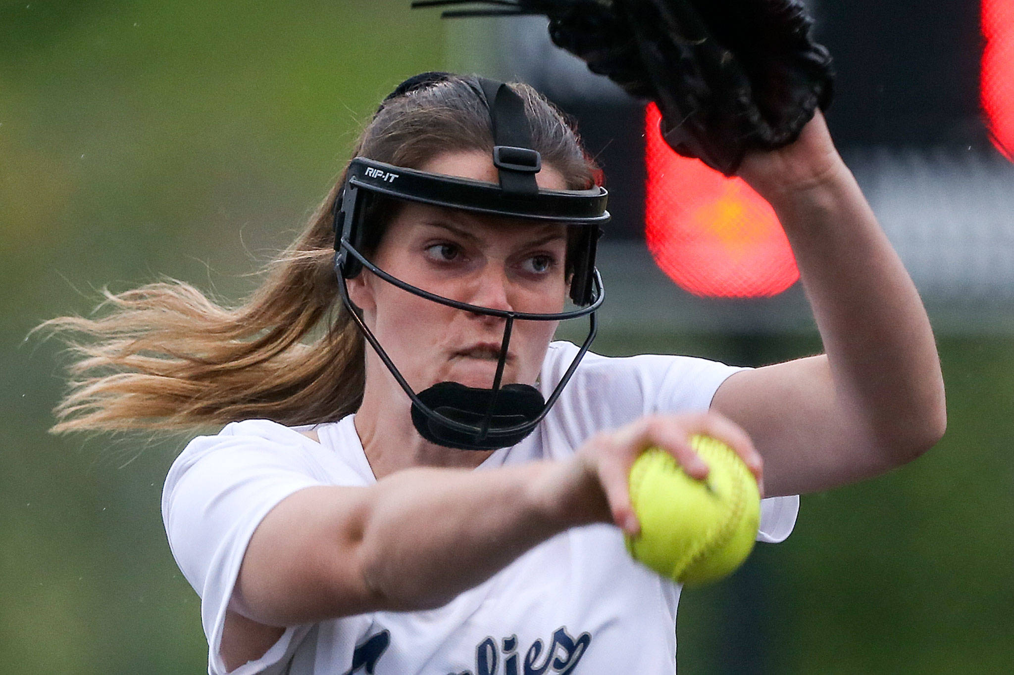 Glacier Peak's Makayla Miller pitches against Eastlake at Phil Johnson Fields in Everett on May 15. (Kevin Clark / The Herald)