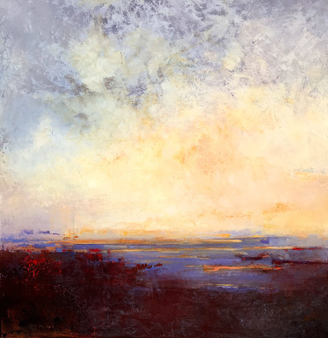 """""""Red Sky in the Morning"""" was inspired by views from artist C.A. Pierce's home overlooking Lake Washington."""