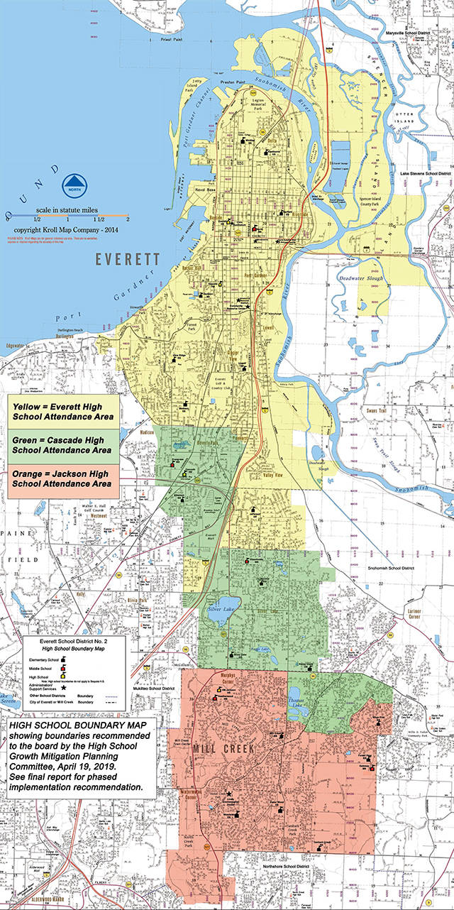 This map outlines the proposed boundary changes. (Everett School District)