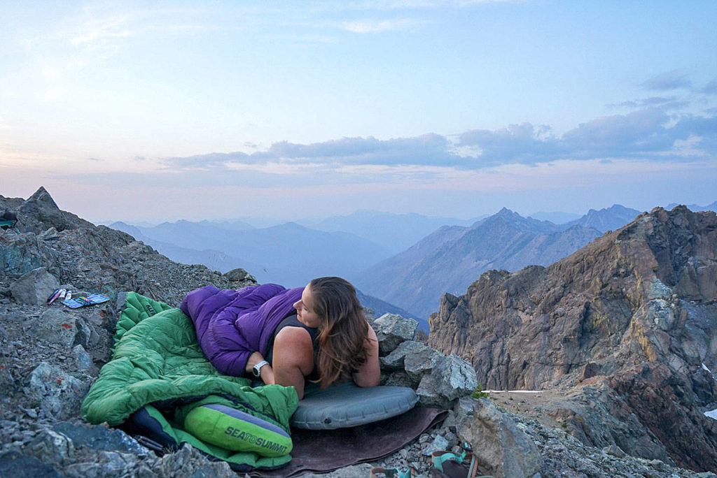 One of Sarina Clark's more memorable trips was when she camped without a tent at the summit bivy of South Ingalls Peak.