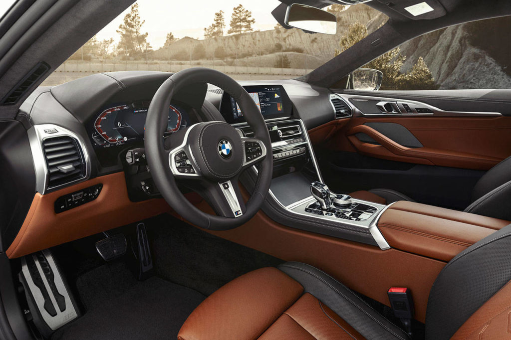Interior styling of the 2019 BMW M850i xDrive Coupe blends richness with a touch of the brand's trademark minimalism. (Manufacturer photo)