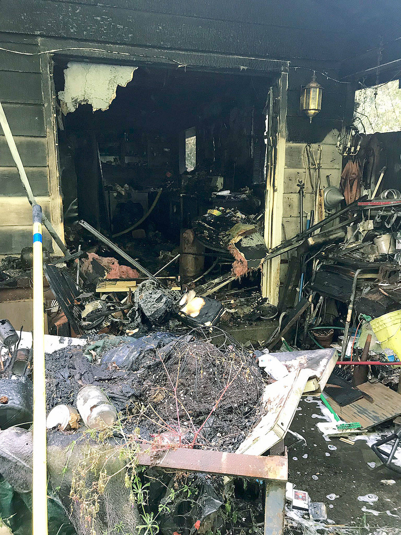 A Lynnwood home in the 20700 block of 60th Avenue West was damaged during a fire Monday morning. (South Snohomish County Fire)