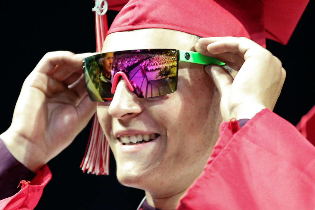 Scenes of the graduation of Snohomish High School Class of 2019 at Angel of the Winds Arena in Everett on June 10, 2019. (Kevin Clark / The Herald)