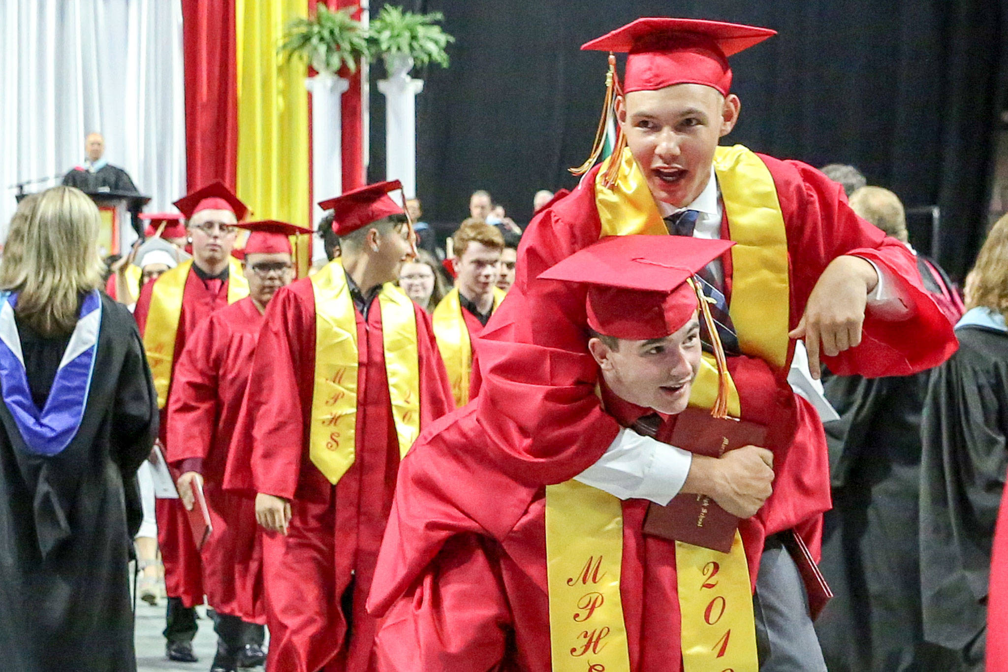 Scenes from the graduation of Marysville-Pilchuck High School's Class of 2019 Wednesday afternoon at Angel of the Winds Arena in Everett on June 12, 2019. (Kevin Clark / The Herald)